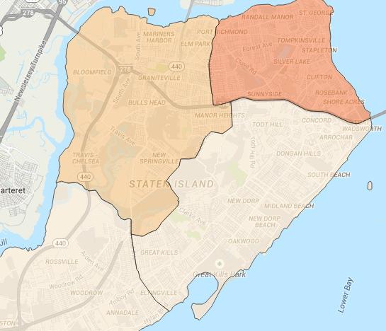 Safety map for Staten Island, NYC